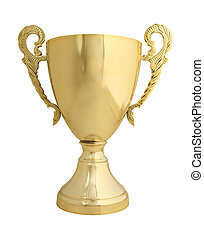Trophy on white with path - Large golden trophy isolated on...