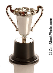 trophy or award cup with reflection on white background
