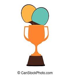 trophy ping pong award vector illustration design