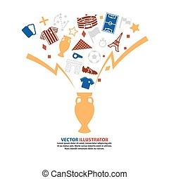 Trophy Soccer Abstract background  Football. Vector Illustration