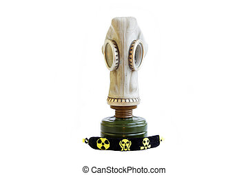 trophy stalker old Russian gas mask and yellow-black baubles on a white background. concept of stalking. Isolated.