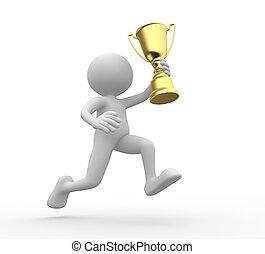 Trophy - 3d people - man, person holding golden trophy