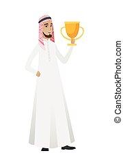 trophy., uomo affari, musulmano, presa a terra