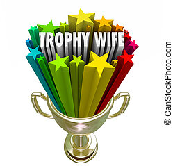 Trophy Wife 3d Words Attractive Younger Woman Older Rich Husband
