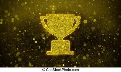 Trophy Win Cup Icon Golden Glitter Glowing Lights Shine Particles. Object, Shape, Web, Design, Element, symbol 4K Loop Animation.