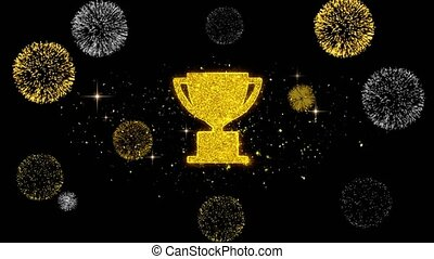 Trophy Win Cup Icon on Glitter Golden Particles Effect Firework. Object, Shape, Text, Design, Element, symbol 4K Animation.