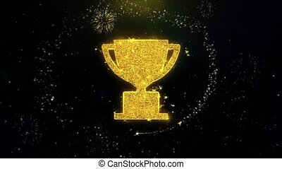 Trophy Win Cup Icon on Gold Glitter Particles Spark Exploding Fireworks Display . Object, Shape, Text, Design, Element, Symbol 4K Animation.