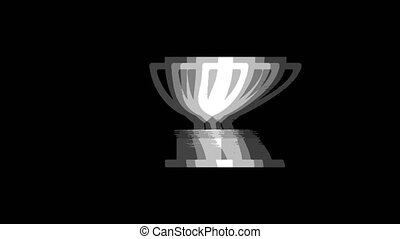 Trophy Win Cup icon Vintage Twitched Bad Signal Animation.