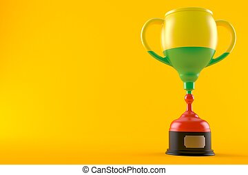 Trophy with lithuanian flag isolated on orange background. ...