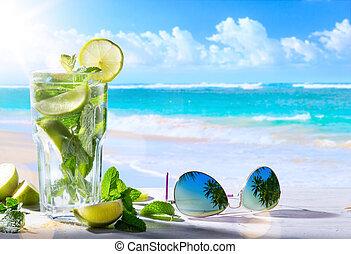 tropic, 夏, vacation;, エキゾチック, 飲み物, 上に, ぼやけ, 熱帯 浜, 背景