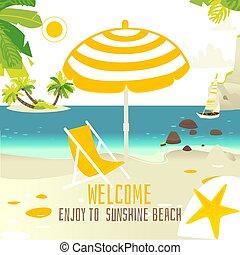 Tropic beach banner with rocks, yacht, sun chair