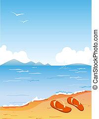 Tropic beach with pair of orange slippers