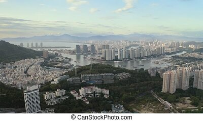 Tropic city aerial - Day city aerial view of Sanya, Hainan...