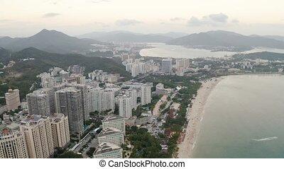 Tropic city aerial - Day city aerial view of Sanya, Hainan ...