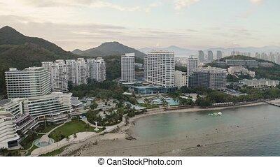 Tropic city aerial - Tropic sea bay hotel resort aerial view