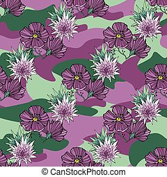 Tropic flowers on the camouflage background. Vector seamless pattern. Camo flower tropical illustration. For your web design, clothes, repeat print, clothing.