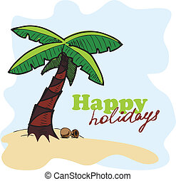 Tropic island background. Card concept. Eps 10 vector illustration