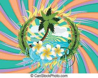 Tropic island - Sunny tropical island with palm tree and...