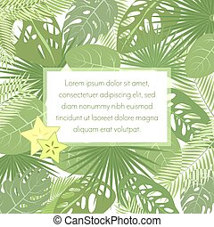 Tropic leaves background with frame for your text. Exotic banner template.