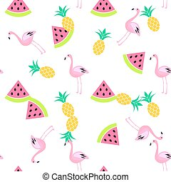 Tropic summer seamless white pattern. - Tropic summer...