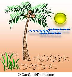 tropic vacation - beach vacation palm tree on sandy beach