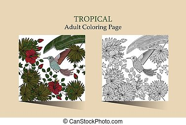 Tropic vector illustration. - Vector ilustration with ...