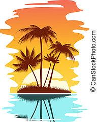 tropicais, abstratos, fundo
