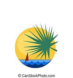 tropicais, amanhecer, vista, com, navegue barco