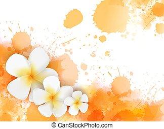 tropicais, aquarela, flores, esguichos, fundo