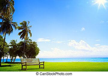 tropicais, arte, ilha, árvore, lounge, palma, chaise, ...