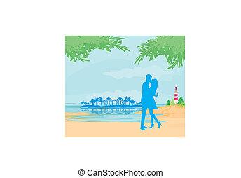 tropicais, beijando, par, praia, silueta