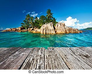 tropicais, bonito, ilha