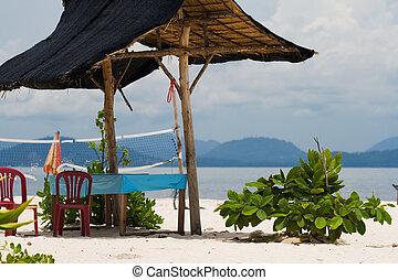 tropicais, cabana, praia