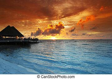 tropicais, casas, praia, pôr do sol