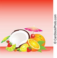 tropicais, cesta, fruta