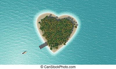 tropicais, Coração, ilha,  3D, Dado forma