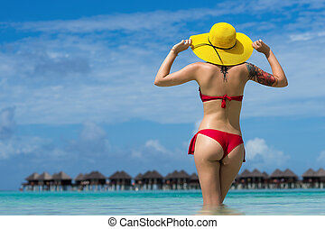 tropicais, excitado, mulher, chapéu praia