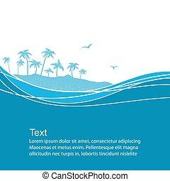tropicais, experiência azul, mar, ondas, island., vetorial