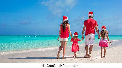 tropicais, família, chapéu, jovem, costas, quatro, santa, praia, vista