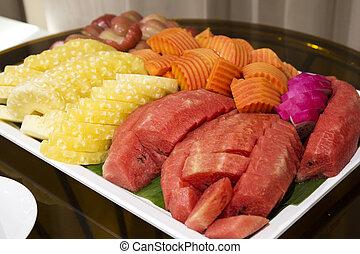 tropicais, fim, fatia, cima, fruta