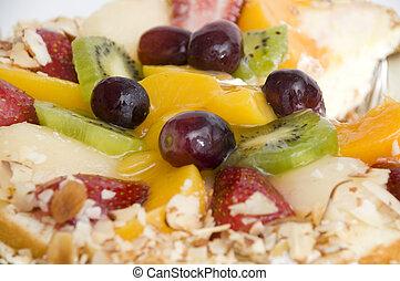 tropicais, fim, torta fruta, cima