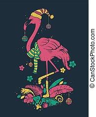 tropicais, flamingo, natal, ilustração