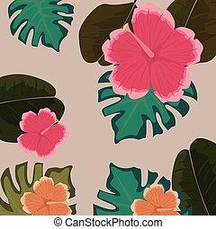 tropicais, floral, folhas, flores, monstera