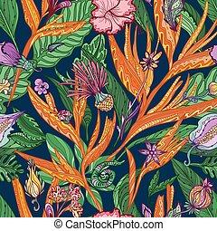 tropicais, floral, vetorial, padrão