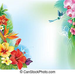tropicais, folhas, flores, fundo