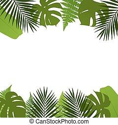tropicais, folhas, fundo, com, pal