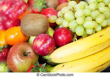 tropicais, fresco, fruta, fundo, coloridos
