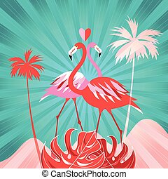 tropicais, fundo, com, coqueiros, e, flamingo