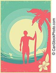 tropicais, fundo, mar, ondas, surfista, island., vetorial, cartaz
