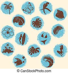 tropicais, grunge, botões, retro, tons, fresco